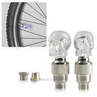 2 ASSORTED COLOR Skull Valve Cap Light Wheel Tire Lamp Car Motorbike Bike Tyre R