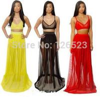 2014 new Womens Celebrity maxi dress, summer two piece gauze mesh night dress long dress