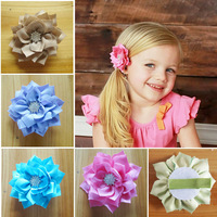 "50pcs/lot 3"" Lotus type Fabric flower With rhinestone Button within Lined hair Clip,Ribbon Alligator hair Clip for baby child"