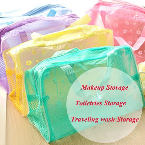 Women cosmetic bag organizer Transparent makeup case Waterproof travel wash beauty case storage bags free shipping 7507(China (Mainland))