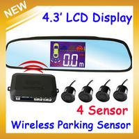 PZ502-W LCD Wireless Car Parking Sensor Backup Reverse Rear View Radar Alert Alarm System with 4 Sensors,Free Shipping