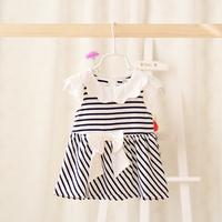 2015 New,baby girls striped dress,children summer casual dress,cotton,bow,blue,5 pcs/lot,wholesale,2075