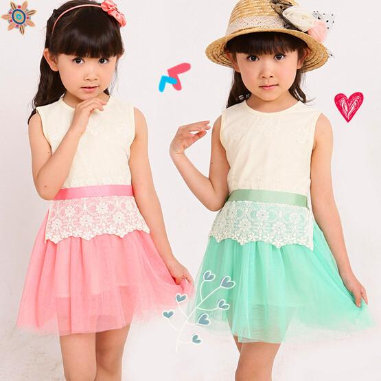 2015 new summer fashion lace embroidery gauze sleeveless Chiffon Girl Dress Pink and green 100% cotton children dress(China (Mainland))