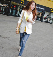 2014 Fashion Women Blazers sexy elegant chiffon long-sleeved jacket stitching 2 colors