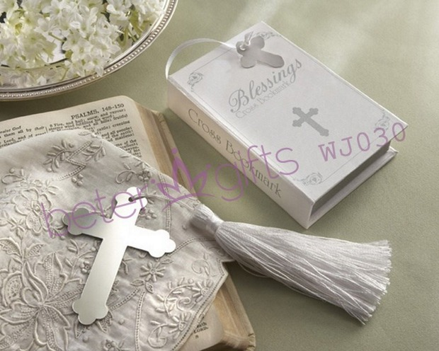 Free Shipping 40box Blessings Silver Cross Bookmark, bachelor party Supplies BETER-WJ030 Bachelorette favors(China (Mainland))