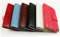 Crocodile PU Leather Flip Soft Credit Card Holder Wallet Leather Case For LG Optimus L9 P760 Free Shipping