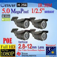Free DHL Shipping! AOTE HD 2592*1920P(5MP)/3MP/1920*1080P Network IP Camera IPC Varifocal 2.8mm~12mm POE Waterproof P2P Alarm