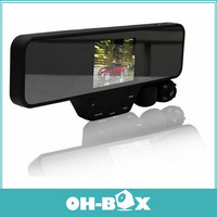 DV100 Dual Camera Rearview Mirror DVR+1280*720P 30FPS +3.5 inch LCD Screen + Night Vision