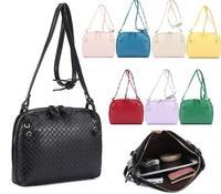 New 2014 Retro Weaven Pattern Plaid Women Messenger bag Leather Handbag Vintage Shoulder Bag Cross body bag Blosa Free shipping