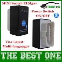 2014 Multi-Languages Elm327 V2.1 Power Switch ON/OFF Super Mini Elm 327 Bluetooth OBD II OBD2 Scanner Work on Android Torque