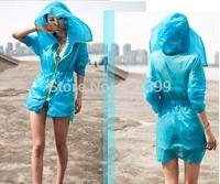 New 2014 raincoat  poncho bicycle beach sunshine rain coat hooded PVC women lightweight
