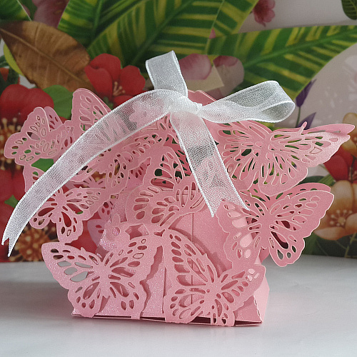 2014 new style Free shipping butterfly Laser cut wedding party favor paper box,party show in Pearlescent Paper box,candy box(China (Mainland))