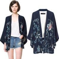 European fashion women's spring and autumn casual outerwear Phoenix flower print kimono ladies loose cardigan jacket tops S M L