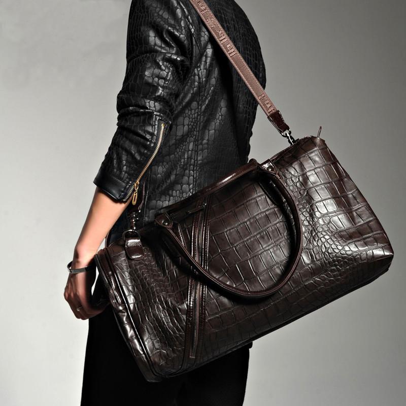 Hot 2015 crocodile pattern men's travel bags designer brand high quality large capacity travelling duffel bag gym shoulder bag(China (Mainland))
