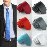 2014 6 Colors Necktie Men Casual Party Ties Black Wedding Tie Korean Slim Plain Solid Skinny Neck 7041