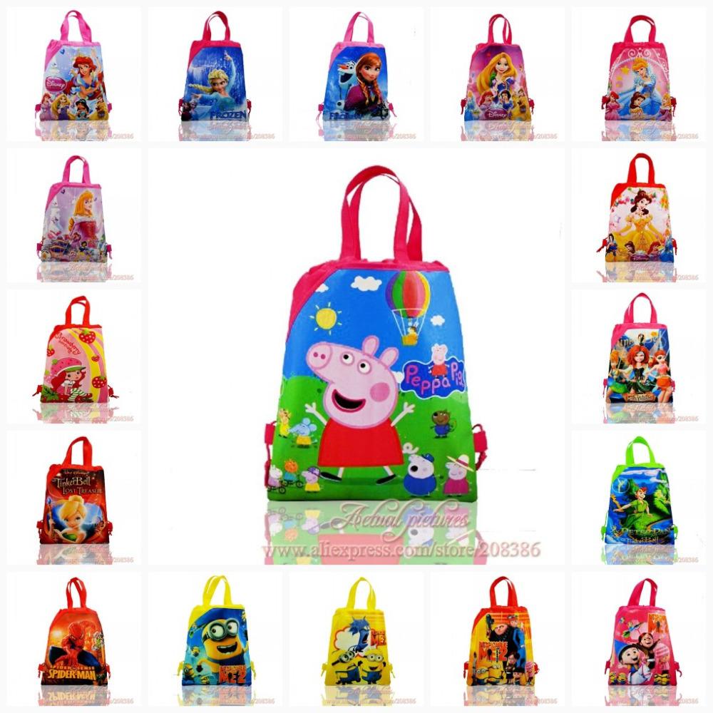 Par dhl ou ems-100pcs enfants sacs à dos à cordonnet, sacs d'école, sacs à dos, enfants sac d'école, 34*27cm, non- tissé