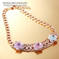 Neoglory Flower Gold Plated Czech Rhinestone enamel Chain Bib Choker Necklace for Women Flower Jewelry Accessories 2014 New