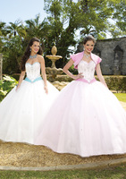 2014 Newest Silky Taffeta and Beaded Tulle or Satin and Beaded Tulle two pieces jacket sweet 16 Girls Quinceanera dresses