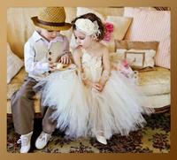 Free shipping New 2014 Flower girl dresses for weddings Little girls pageant dresses Above Knee,Mini 2-16 age