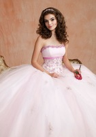 2014 New Arrival Embroidered Tulle with Satin Trim strapless backless two pieces jacket sweet 16 Girls Quinceanera dresses