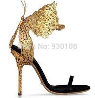 Brand Name Elegant Golden Butterfly Sandals High Heel Evening Sandals For Women!