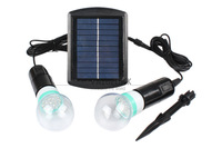 Outdoor/Indoor Solar Power LED Lighting System Light Lamp 2 Bulb solar panel  Low-power Dissipation Garden Decoration