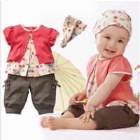 Baby Girl's Clothing Set Summer Baby 3PCS Clothes Set Short Sleeve Tshirt Pant Headband Set New Fashion Hot Sale