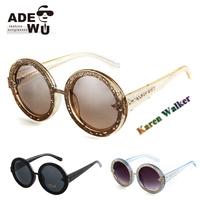 Luxury New Ladies Sunglasses Orbit Gold Glitter Round Mirror Sun Glasses Women Oversized Fashion Hollow gafas de sol