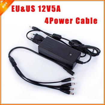 EU & US Cord 12V 5A Surveillance Camera 1 Split 4 Power Cable Adapter for Security ...