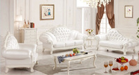 2014 Europe classical 1+2+3 sofa set, oak frame sofa, white genuine leather Sofa solid wood sofa set