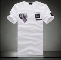 Wholesale Black/White GBR Tshirt Cotton O-neck Fashion Men's Tees Shirts Shark Print T-shirt with Short Sleeves