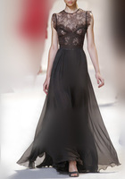 2color white and black color  Floor Length Star Styles sleeveless  lace stitching Runway Design Long Lace Dress