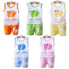 IVE 2014 Baby Clothing Set Kids Foots Sets Baby Boy Casual Suits Girls Summer Sets  IU116(China (Mainland))