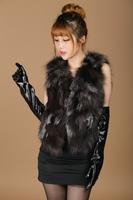 2014 fashion fox fur vest fox vest female long natural color silver fox fur vest vest genuine free shipping