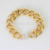 Thick Chunky Gold Chain  Bracelet  Rhinestone Crystal Magnetic Ball Closure Bracelets statement trendy jewelry KK-SC517 3pcs/set