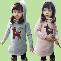 2014 Hot Sale Long Autumn Winter New Girls Velvet Hoodies De Filles Animal Cute Deer Sweatshirts Sudaderas Con Capucha Del Nino
