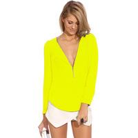 2014 Women Fashion  Fall Clothing  Female Solid Elegant Classic Office Work V Neck Long Sleeve Zipper Top Blouse 308