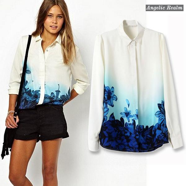 2014 new Girls Sweet Blue Floral Pattern Turn down Collar Chiffon summer Blouse Ladies Casual Shirts fashion women blouse(China (Mainland))