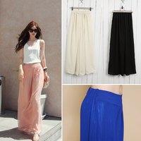 2014 New Fashion Women's Wide Leg Pants Loose Chiffon Gauze Long Gaucho Trousers ,Wholesale/Retail