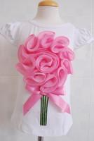 wholesale 5pcs/lot kid children baby girls wear short sleeve big flower t-shirt tops clothes