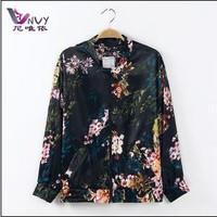 New 2014 female coat jackets women cardigan long sleeve black desigual flower print spring short clothing casual L jacket W088