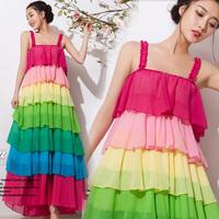 Free Shipping 2014 Spring and Summer Chiffon Bohemia Dress Beach Rainbow Colour Color Block Spaghetti Strap Women's Dress 5801#