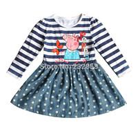 2014 winter fall girls long sleeve dress 3~7age peppa pig brand girl's fashion apparel free shipping 1pcs retail