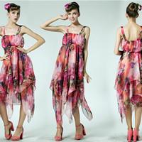 Print Plus Size Haunt Couture Cascading Ruffle Elegant Irregular Tencel Spaghetti Strap Holidays Beach Dress For Girls 8902#