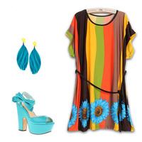 L-4XL Ethnic Dress Novelty Women Print Dress Casual Vintage Cute Big Plus Size 3XL XXXL XXXXL  2014 New Fashion Summer