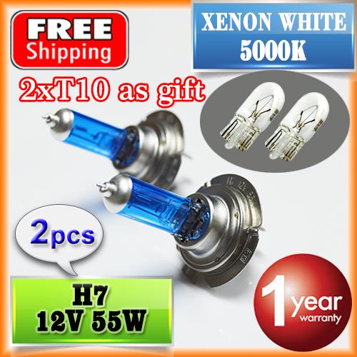 2 PCS(1 Pair) H7 Halogen Bulb 12V 55W 5000K (T10 as Gift) Super White Quartz Glass Xenon Dark Blue Car HeadLight FREE SHIPPING(China (Mainland))