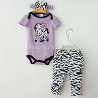 2014 New Baby Girls Fashion 3 Piece Suits Purple Romper +Zebra Pants + Headband baby summer cartoon clothing sets