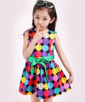 2014 together girl's fashion apparel 3~12age teenage cute polka dots print cotton girl dress 1pcs retail free shipping