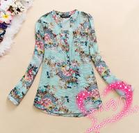 New 2014 v-neck chiffon blouse women's long sleeve flower printed shirt women casual clothing blusas femininas