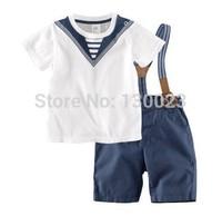 Kids Brand Clothing Sets T shirt+Overalls Children Sailor Clothes Sets Boys Navy Design Clothing baby 2pcs clothing sets